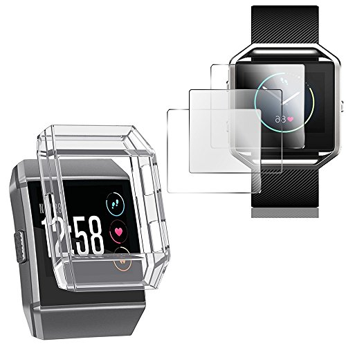 Schutzhülle für Fitbit Ionic mit Bildschirmschutzfolien, AFUNTA TPU stoßfestes Cover & 3 Stück kratzfeste TPU Schutzfolien für Fitbit Ionic Smart Watch