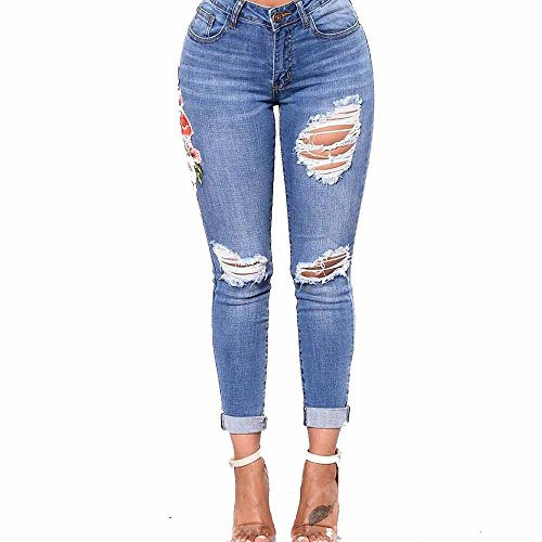 Damen Hosen Sommer LHWY Frauen Zerrissen Denim Jeans Löcher Lang Hosen Slim Stretch Skinny Hose High Waist Sports Casual Jeanshosen (S, Blau 1)