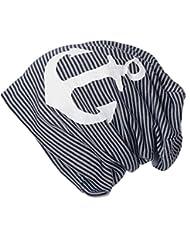 BRUBAKER Unisex Beanie Mütze Streifen mit Stern oder Anker Druck