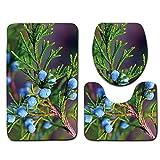 HONGYUANZHANG 3 STK. Violett Kugel Blume Bad Teppich Wc U Badematte Set Rutschfeste Pad Badezimmer Dekoration, Eine