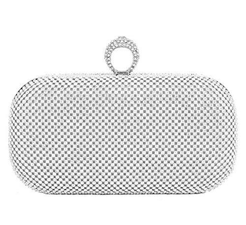 JFJWH Damen Clutch Abendtasche ,Ring mit Strass Damen Bankett kleine quadratische Tasche @ Silber,Handtasche Umhängetasche für Hochzeit Party