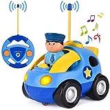 GotechoD Ferngesteuertes Auto, Cartoon Polizeiauto RC Auto Spielzeug mit Licht Sound Sirene, Spielzeugauto mit Fernbedienung für Kleinkind Kinder, Blau
