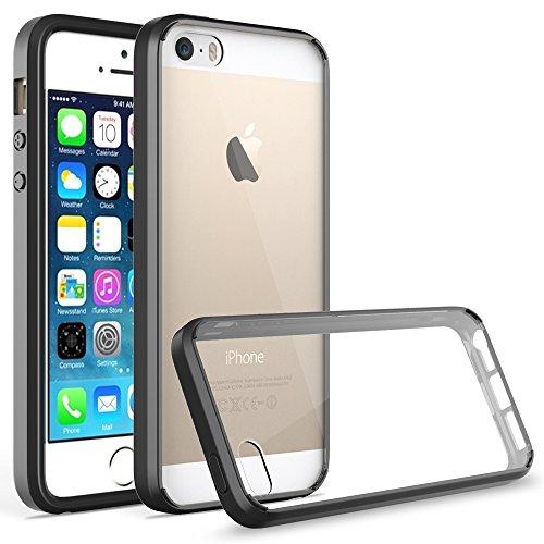 Coque iPhone SE, Pasonomi® Coque iPhone 5S 5 [Ultra Hybrid] Coussin d'Air [Ultra Clair] Housse Case Cover PC Back + Soft TPU Bumper Coque Pour Apple iPhone 5 / 5s / iPhone SE (2016), Transparent Noir