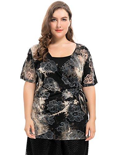 Chicwe Damen Große Größen blühend Jersey einwickeln Top mit Einstellbar Leibchen Schwarz&Beige 2X (Leder-leibchen)