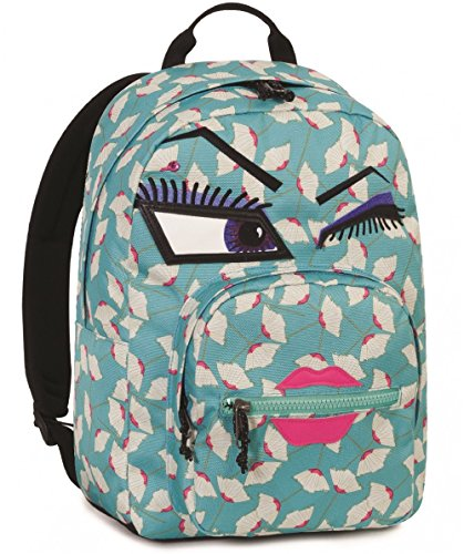 Zaino invicta - ollie pack face yap - azzurro - occhiolino - tasca porta pc padded - scuola e tempo libero americano 25 lt