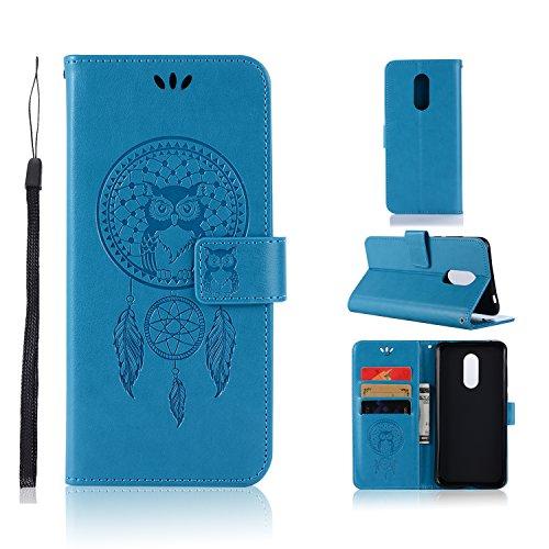BCIT Xiaomi Redmi 5 Plus Funda - [Patrón de búho] Carcasa Libro de Cuero Con Tapa y Cartera, Carcasa PU Leather Con TPU Silicona Case Interna Suave para Xiaomi Redmi 5 Plus - Azul