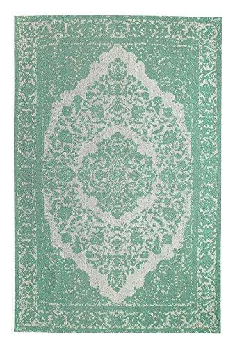 Mogenland Vintage Orient Teppich MILANO Grün Modern Kurzflor Handgearbeitet 300 x 80 cm Läufer -