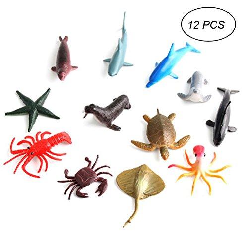 TOYMYTOY 12 Stücke Meerestiere Figuren Set Fisch Modell Sammelfiguren für Kinder