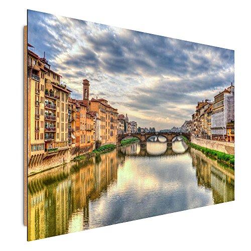 Florenz-panel (Feeby. Wandbilder - 1 Teilig- 70x100 cm - Bilder Kunstdrucke Deko Panel, FLORENZ, ARCHITEKTUR, BLAU, BRAUN)