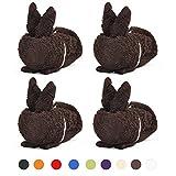 Fourscom 4tlg. Kaninchen Tierform Handtuch Osterhase Bunny Seiftuch Gesichtstuch Geschenke Ideen Weihnachten Geburtstag Jubiläum Baumwolle 34 x 34 cm Braun