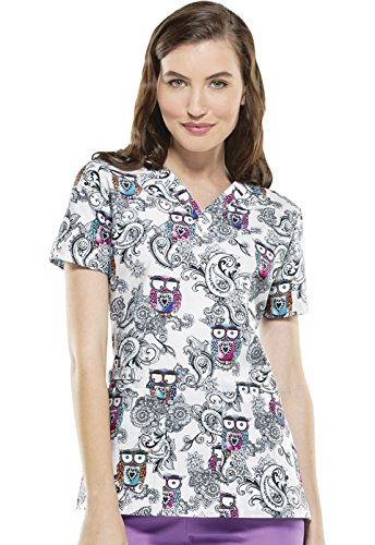 Scollo a V Top Look Hoo di Qwls Medium - Vet Scrub