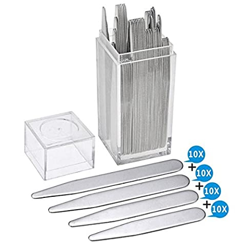 40pc Metal Collar Stays For Men's Shirt Bone Stiffeners 4 Sizes Inserts in Box