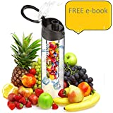 Vitara Tritan Water Bottle With Fruit Infuser, BPA Free, 800 Ml, 121 Weight Loss & Detox Water Recipes E Book (Black Coloure)
