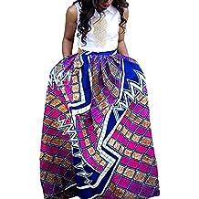 beautyjourney Vestido Largo A-Line de Cintura Alta para Mujer con Flor  Africana Falda Larga 0589beacb3eb