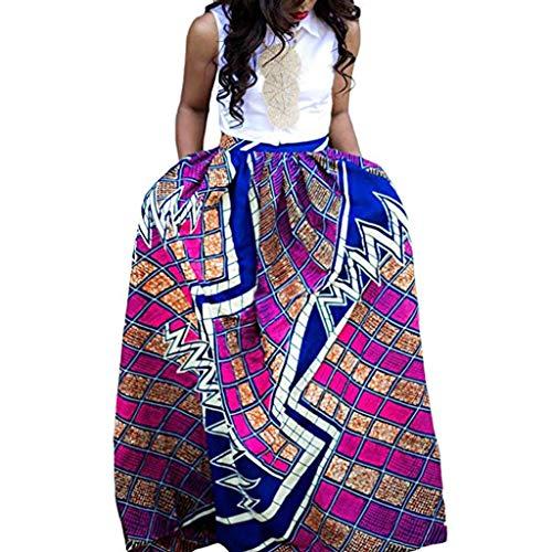 FRAUIT Damen Freizeit Afrikanische Blume Langer Rock Minirock der reizvollen Frauen Plaid Tie Slim Sexy Rock Holländischer Stil elegant Jahre Petticoat Kleider Gepunkte Rockabilly Kleider
