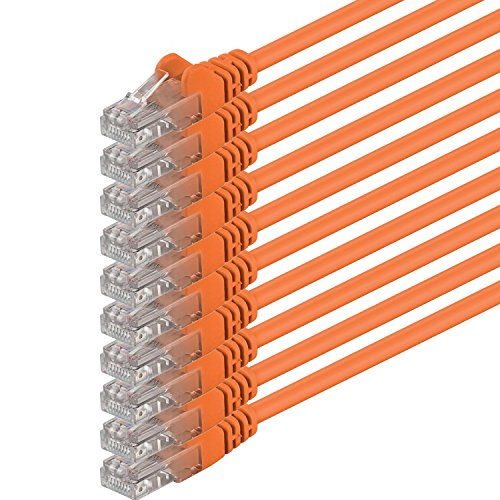 Orange 8x10 Bereich (0,5m - orange - 10 Stück - (PACK) - CAT6 CAT6 Ethernet Lan Netzwerkkabel RJ45 | 10 / 100 / 1000 / Mbit/s | Patchkabel | CAT6 | 250 MHz | Halogenfrei | kompatibel zu CAT5 / CAT6a / CAT7 | für Internet, DSL, Smart TV, Xbox, Mediaplayer, Switch, Router, Modem, Patchpannel, Access Point, Patchfelder)