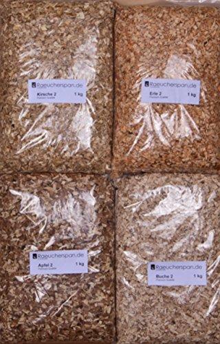 Räuchermehl Räucherspäne Apfel, Erle, Kirsche Buche grobe Körnung, 4kg, Feinschmeckerpaket