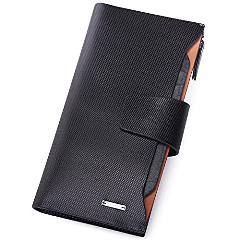 Teemzone Mens Genuine Leather Long Style Purse Checkbook Cash Holder