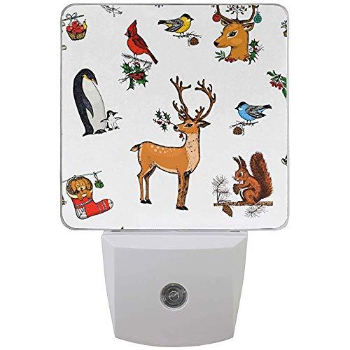 Katrine Store Luci notturne natalizie plug-in, luce notturna decorativa, plug-in luce notturna Kids Auto Dusk to Dawn Sensor, 1 confezione Deer Squirrel Christmas Animals