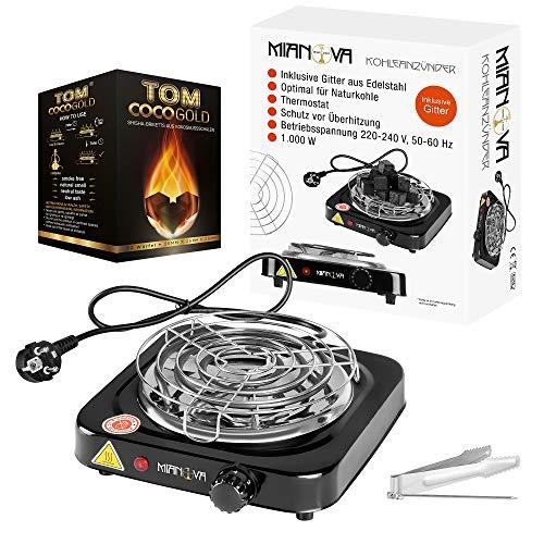 Mianova Premium elektrischer Kohleanzünder Plus 1KG Naturkohle 1000W E-Heater Kohlebrenner elektrisch Kohle Brenner Anzünder Heizplatte für Shisha Set inkl. Zange und Gitter