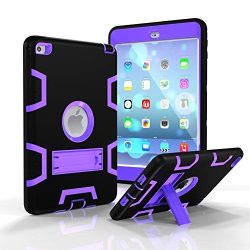 iPad Mini Hülle, iPad Mini 2 Hülle, iPad Mini 3 Hülle, 3 in 1 strapazierfähiger Schutz Kickstand Combo Hybrid Impact Silikon Hard Case Cover für Apple iPad Mini 1 2 3 schwarz/violett Combo Hard Case