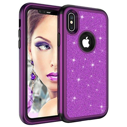 Glitzer-Schutzhülle für Apple iPhone XS Max 16,5 Zoll 2018, luxuriös, glitzernd, 3-in-1, Harte Rückseite, strapazierfähige Hybrid-Armor Defender Stoßfeste Schutzhülle für Frauen, violett Durable Hard Case