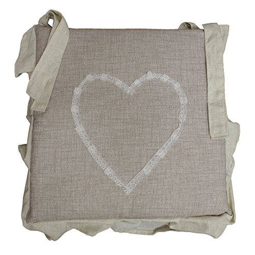 Russo tessuti 6 cuscini sedie cucina coprisedia imbottiti cuore ricamato laccetti vari colori-beige