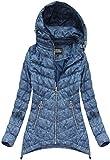 Yam Yam Fashion Damen Langjacken Steppjacke Mit Kapuze Blau (W7 Kr-W714-Nieb/1 Blau XXL