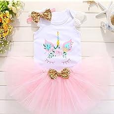 020564fab2a8 Baby girls 1st birthday unicorn tutu set with matching top and headband