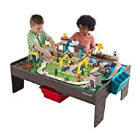 KidKraft 18026 My Own City Vehicle Wooden Train Track Set and Table for Kids, Railway Activity Playset with Accessories Included (120+ Piececs) with EZ Kraft Assembly