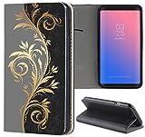 Samsung Galaxy J7 2017 J730 Hülle Premium Smart Einseitig Flipcover Hülle Galaxy J7 2017 Flip Case Handyhülle Samsung J7 2017 Motiv (623 Tattoo Style Schwarz Gold Grau)