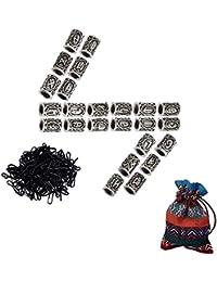 FOGAWA 24Pcs Cuentas Vikingas Cuentas para Barba Nórdico Viking Runas Cuentas para Cabello Collares Pulseras DIY con 100 Gomas de Pelo Negras 1 Bolsa de Almacenamiento