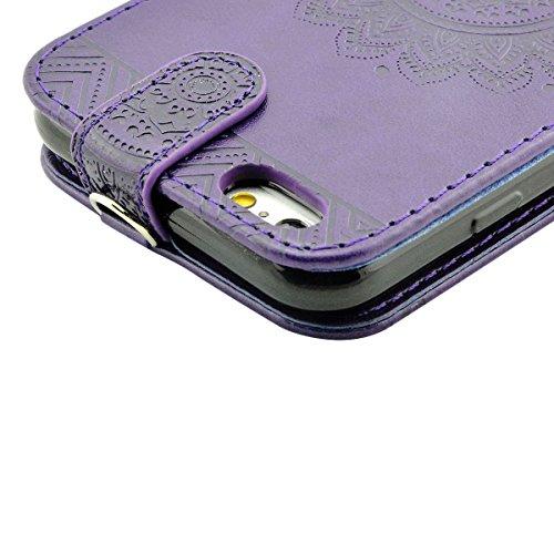 iPhone 6S Plus Hülle, iPhone 6 Plus Ledertasche - Fraelc® UltraSlim 360 Grad Klapphülle Flip Case mit Karte Halter & Standfunktion Leder Schale Henna Motiv Design Leder Etui für Apple iPhone 6 Plus/6S Lila