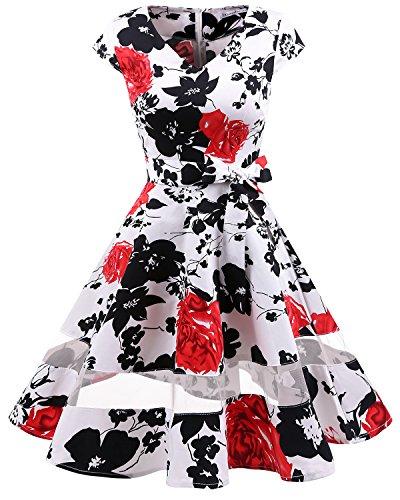 (Gardenwed Damen 50s Retro Schwingen Vintage Rockabilly Knielang Cocktailkleider Partykleider White Red Flower S)