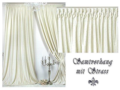 Trendoro Samtvorhang, 1 Vorhang üppig mit Strass besetzt, Farbe Champagner, 150 x 260 cm,...