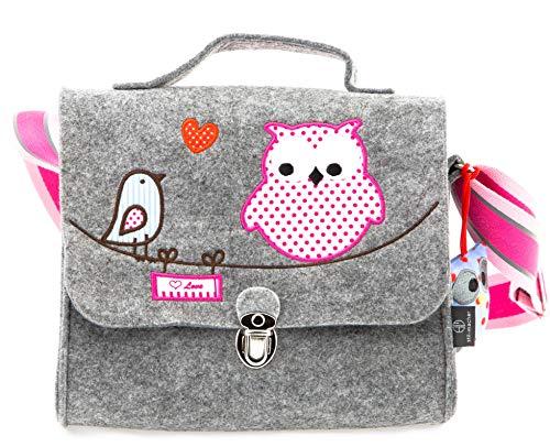 Kindergartentasche aus Filz von Stil-Macher | Eule | -Weicher Filz- reflektierender Schultergurt für mehr Sicherheit Filztasche mit ...
