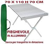 Tavolo tavolino pieghevole in alluminio 70x110 cm per campeggio casa camper pic nic fiera