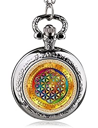 ShopyStore 39 Fashion Silver Stainless Steel Tree Of Life Chain Luminous Pocket Watch Necklace WOM