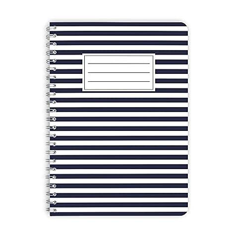 purepaper Notizblock | Notizbuch | Spiralblock 1006 BLUE LINE, DIN A5 60 Blatt kariert mit Abreißperforation