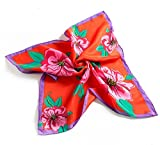Luxus Seidentuch,Damen Nickituch Bandana Halstuch Kopftuch . 100% Seide 55 x 55 cm harmonische Farben Damentuch Schaltuch (red)