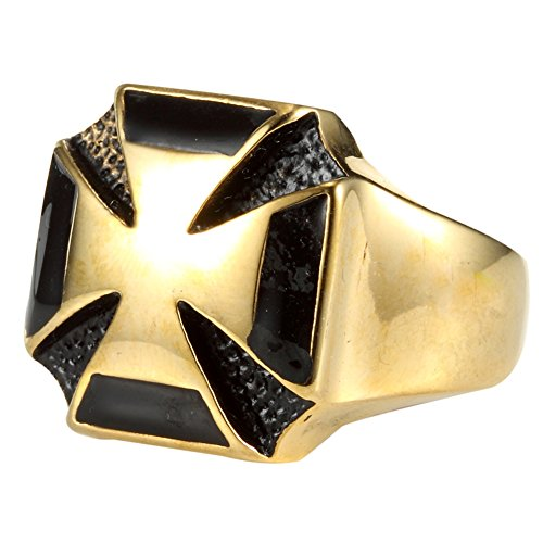 Image of Gold Tone 316L Stainless Steel Iron Cross 3D Mens's Biker Ring