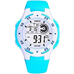 Digital-analog Boys Girls Luminous Sport Digital Watch with Alarm Stopwatch Chronograph - 50m Water Proof(Sky Blue)