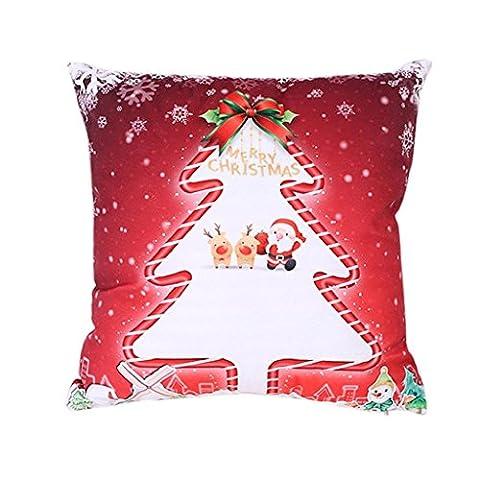 Vovotrade ✿✿ Xmas Noël Impression Dyeing Canapé-lit Home Decor Housse d'oreiller Housse de Coussin Forme d'arbre Unique (Rouge)