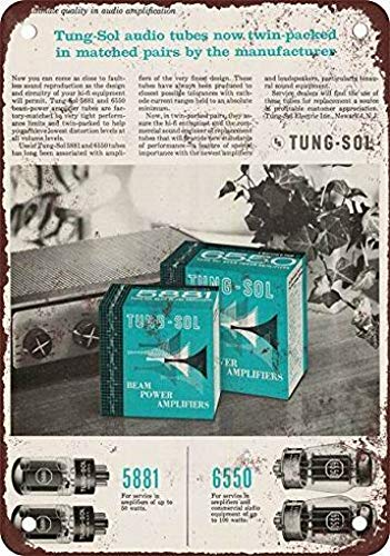 mefoll 1958 Tung-sol Matched Tubes Retro Wall Sign Decor 8x12 Metal Signs