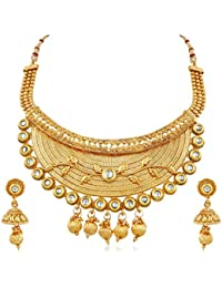 Apara Gold Plated Half Necklace With Kundan For Women