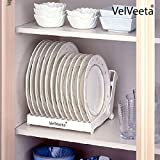 #1: Velveeta Plastic Kitchen Collapsible Dish Rack Storage Drain Rack Cup Dry Finishing Dishes Shelving Kitchen Shelves Dish Rack Stand Plate Holder(Assorted Colour)(1-Piece))