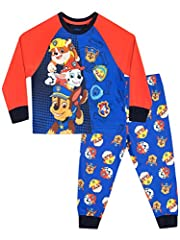 Idea Regalo - Paw Patrol Pigiama a maniche lunga per ragazzi Chase Marshall e Rubble Multicolore 6-7 Anni