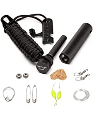 The Friendly Swede Iniciador de Fuego XL Ideal para Principiantes + Llavero en Paracord con Kit de Supervivencia Multifunción al Interior - GARANTIA DE POR VIDA