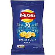 Walkers Cheese and Onion Crisps, 25 g, Pack of 6
