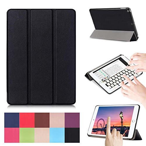 Neue iPad 9,72017Fall, [Standfunktion] PU Leder Ultra Slim Leicht Smart Shell stoßfeste Schutzhülle für Apple iPad 24,6cm 2017Modell - New ipad 9.7 2017 schwarz